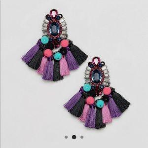 Multicolor Tassel Statement Earrings